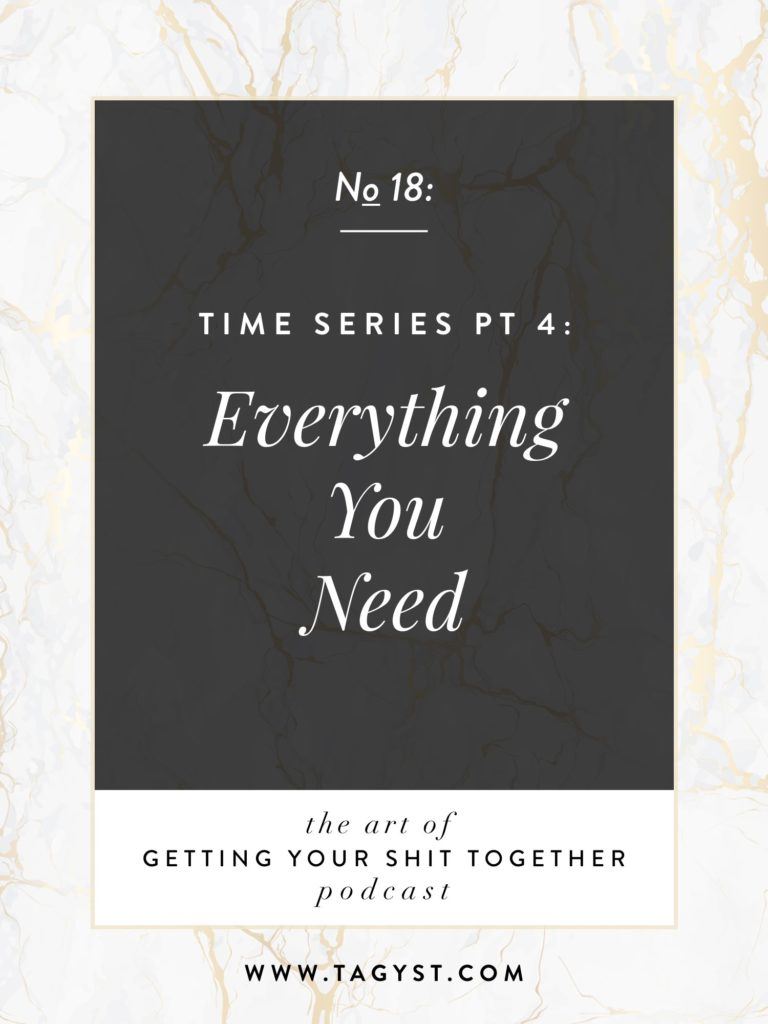 The Art of Getting Your Shit Together Podcast Episode - Time Series Pt 4 Everything You Need